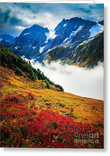 Deciduous Greeting Cards - Cascade Pass Peaks Greeting Card by Inge Johnsson
