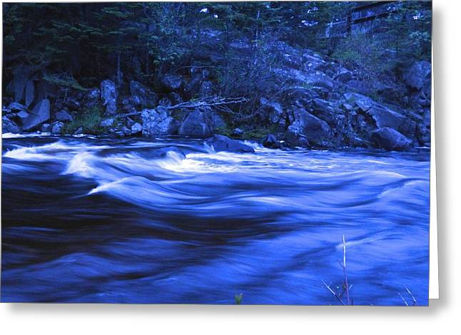 Moonlight On The River Greeting Cards - Cascade River Blues again Greeting Card by Cathi Williams