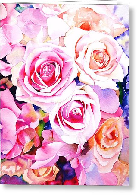 Roses Paintings Greeting Cards - Cascade Greeting Card by Sarah Bent