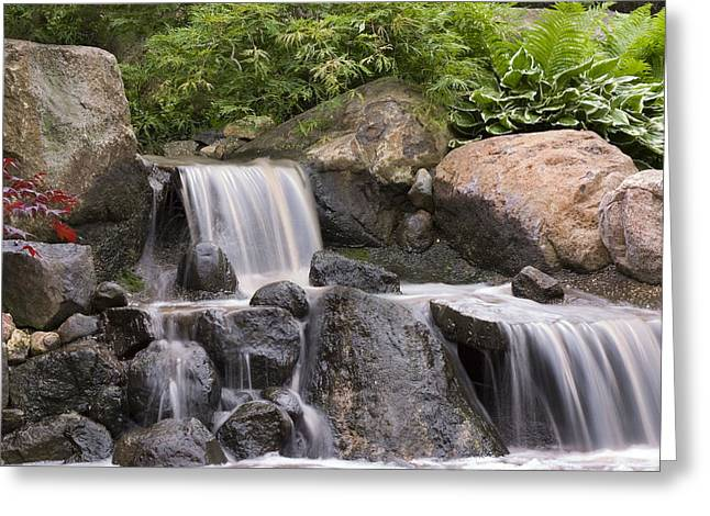 Rushing Water Greeting Cards - Cascade Waterfall Greeting Card by Adam Romanowicz
