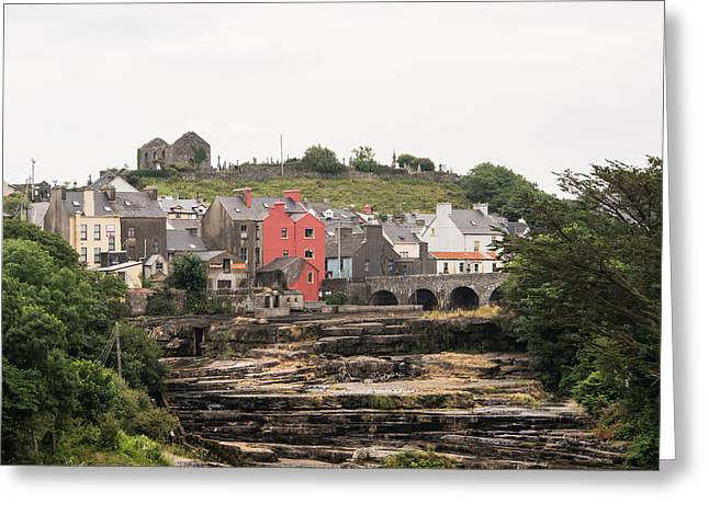 Ennistymon Greeting Card featuring the photograph Cascades And St Andrews Ruins by Ron St Jean