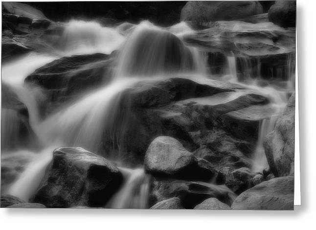 Cascades In Black And White Greeting Card by Ellen Heaverlo