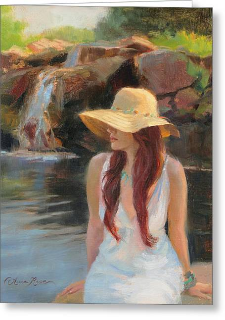 White Dress Paintings Greeting Cards - Cascades Study Greeting Card by Anna Bain