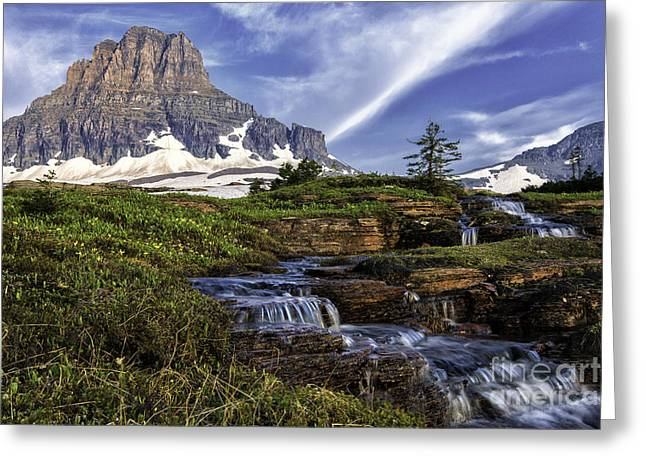 Wonders Of Nature Greeting Cards - Cascades under Clements-Logan Pass Greeting Card by Thomas Schoeller