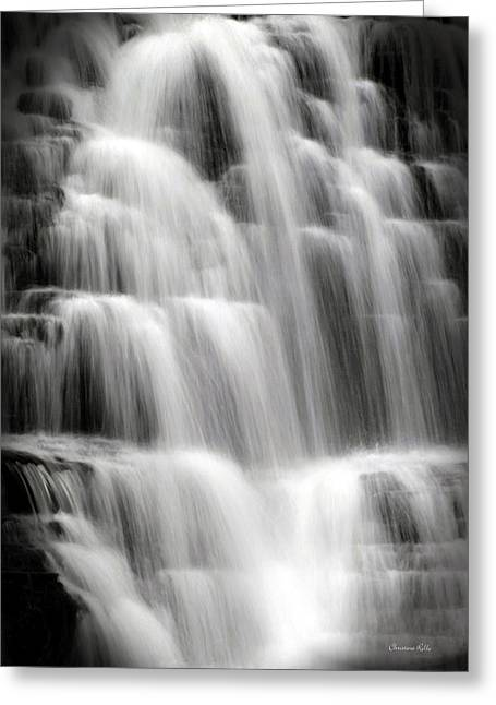 Bw Waterfalls Greeting Cards - Cascading Falls Greeting Card by Christina Rollo