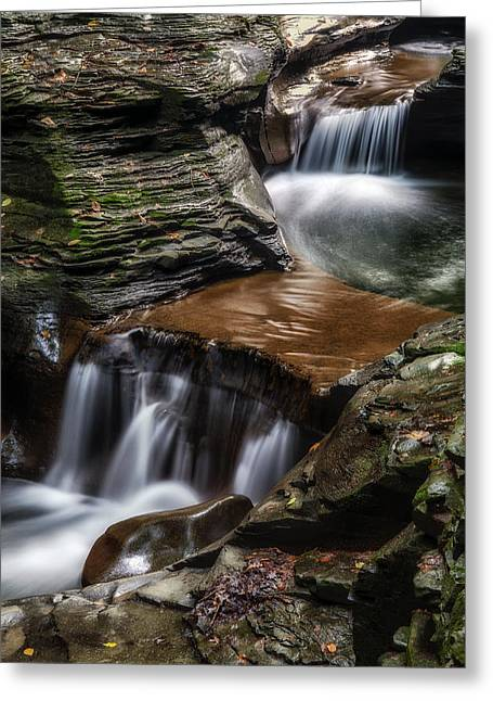 Seneca Valley Greeting Cards - Cascading Glen Greeting Card by Mark Papke