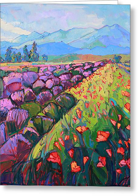Northwest Territories Greeting Cards - Cascading Lavender Greeting Card by Erin Hanson