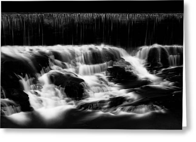 Black And White Waterfall Greeting Cards - Cascading Light Greeting Card by Shane Holsclaw