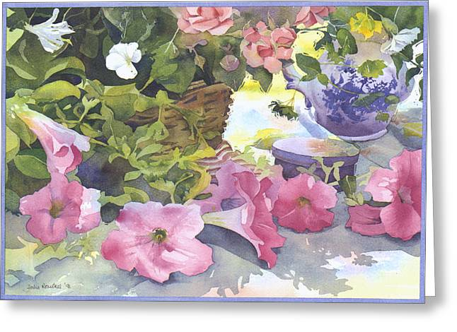 Julia Rowntree Greeting Cards - cascading Petunias Greeting Card by Julia Rowntree