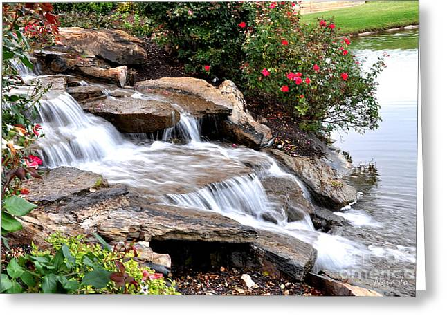 Arkansas Greeting Cards - Cascading Water Greeting Card by Nava  Thompson