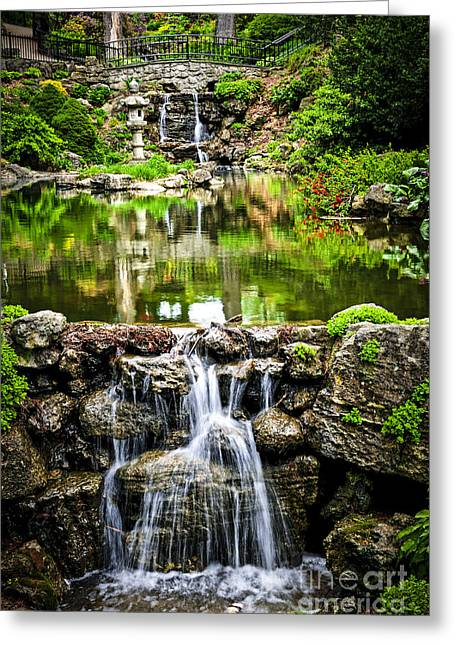 Garden; Water; Falling; Flower; Pond Greeting Cards - Cascading waterfall and pond Greeting Card by Elena Elisseeva