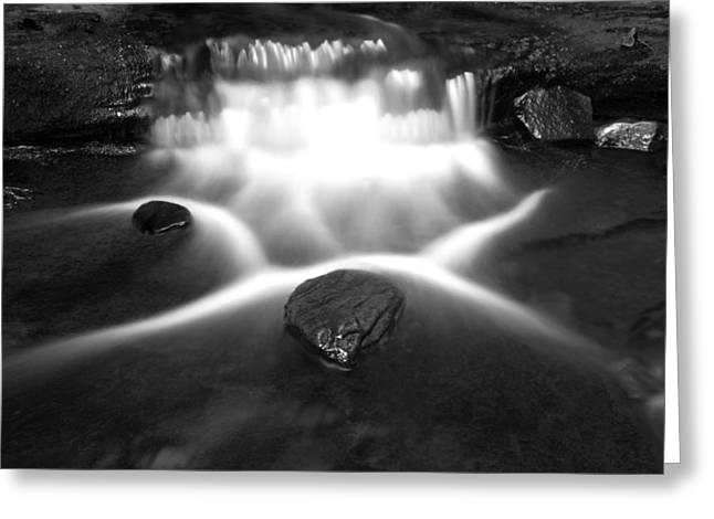 White And Black Waterfalls Greeting Cards - Cascading Waterfall Black and White Greeting Card by John Stephens