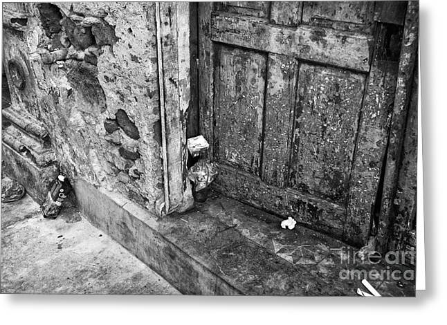 Old Door Print Greeting Cards - Casco Viejo Door mono Greeting Card by John Rizzuto