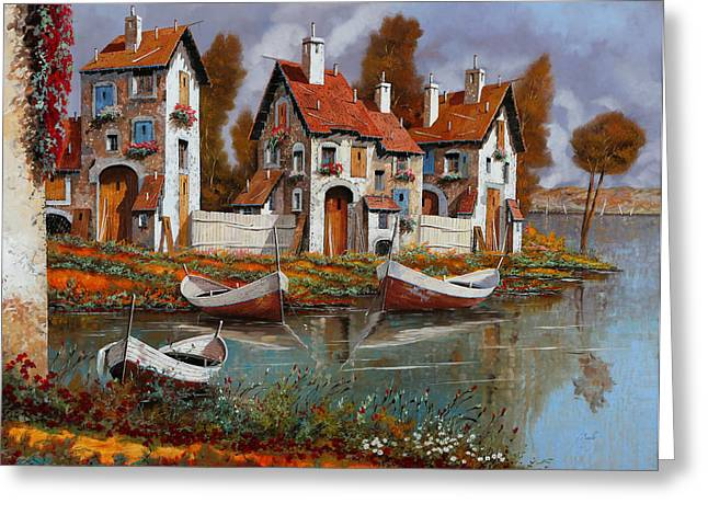 River Boat Greeting Cards - Case A Cerchio Greeting Card by Guido Borelli
