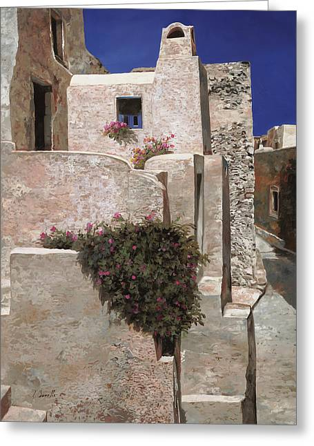 Torino Greeting Cards - case a Santorini Greeting Card by Guido Borelli