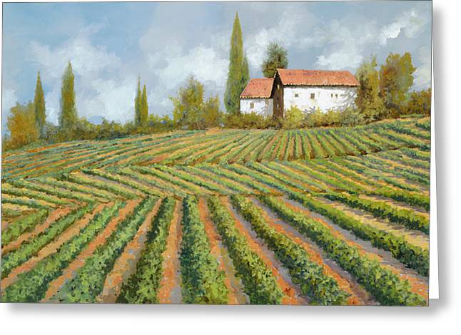 Vineyards Paintings Greeting Cards - Case Bianche Nella Vigna Greeting Card by Guido Borelli