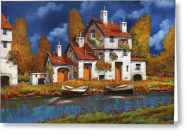 Case Bianche Sul Fiume Greeting Card by Guido Borelli