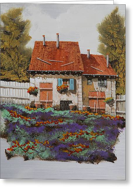 Oil Jewelry Greeting Cards - Case E Lavande Greeting Card by Guido Borelli