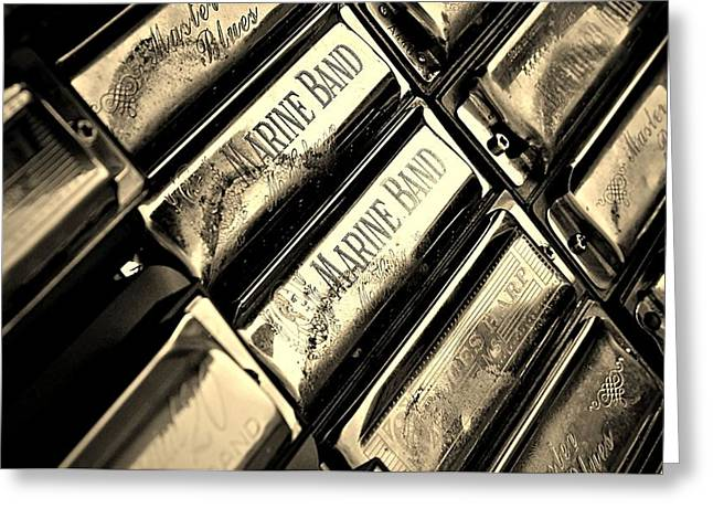 Engraving Greeting Cards - Case of Harmonicas  Greeting Card by Chris Berry
