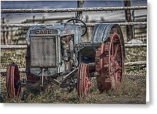 Farm Life Framed Prints Greeting Cards - Case Tractor-Vintage Greeting Card by David Millenheft