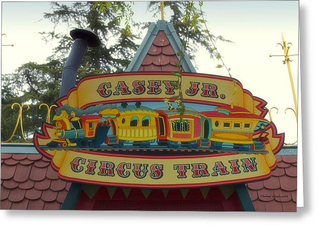 Casey Jr Circus Train Fantasyland Signage Disneyland Greeting Card by Thomas Woolworth