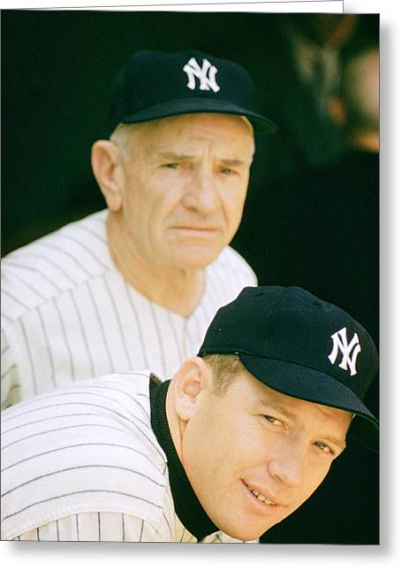 Casey Greeting Cards - Casey Stengel And Mickey Mantle Greeting Card by Retro Images Archive