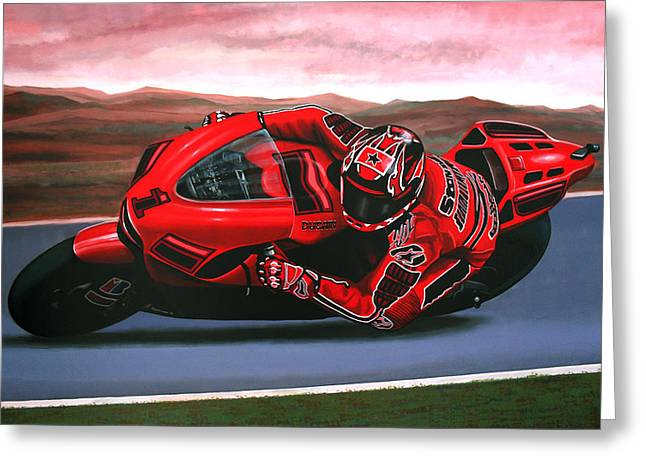 Team Paintings Greeting Cards - Casey Stoner on Ducati Greeting Card by Paul  Meijering