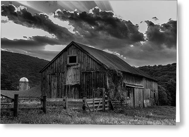 Old Barns Greeting Cards - Caseys Barn-Black and White  Greeting Card by Thomas Schoeller