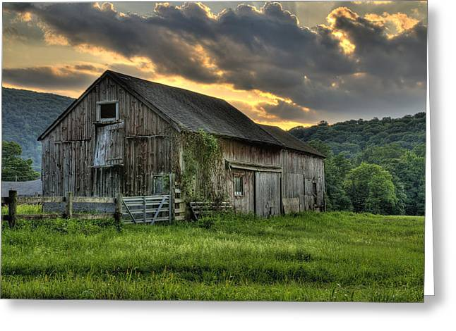 Old Farm Greeting Cards - Caseys Barn Greeting Card by Thomas Schoeller