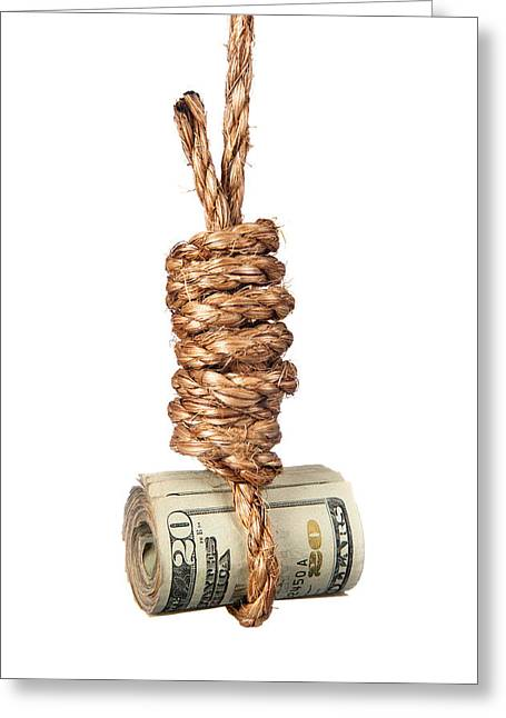 The Debt Greeting Cards - Cash in noose Greeting Card by Joe Belanger