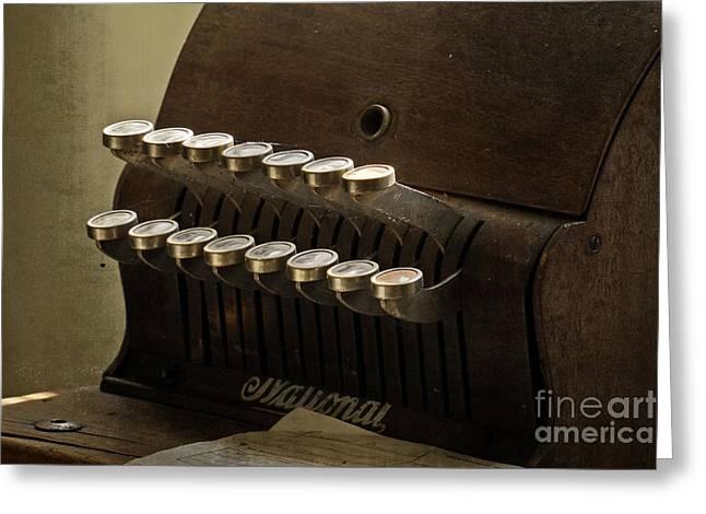 Old Cash Register Keys Greeting Cards - Cash Register Greeting Card by Inge Riis McDonald