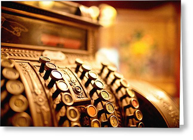 Old Cash Register Keys Greeting Cards - Cash register Greeting Card by Instants