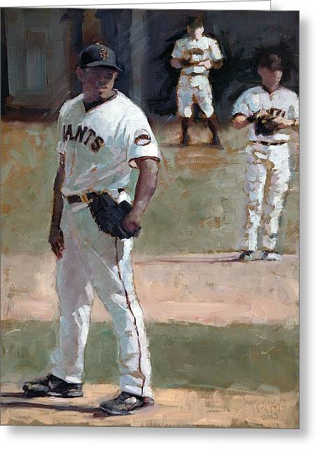 Baseball Paintings Greeting Cards - Casilla Close Greeting Card by Darren Kerr