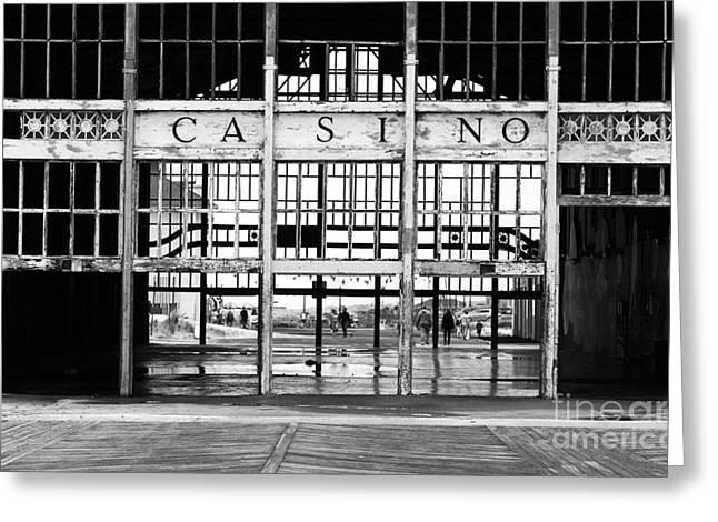 Asbury Park Jersey Shore Architecture Greeting Cards - Casino Entrance Greeting Card by John Rizzuto