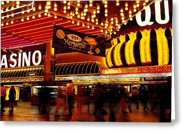 Western Script Greeting Cards - Casino Lit Up At Night, Four Queens Greeting Card by Panoramic Images