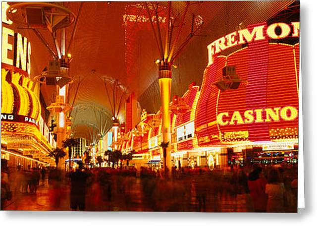 Western Script Greeting Cards - Casino Lit Up At Night, Fremont Street Greeting Card by Panoramic Images