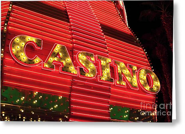 Freemont Street Experience Greeting Cards - Casino Neon Greeting Card by John Rizzuto