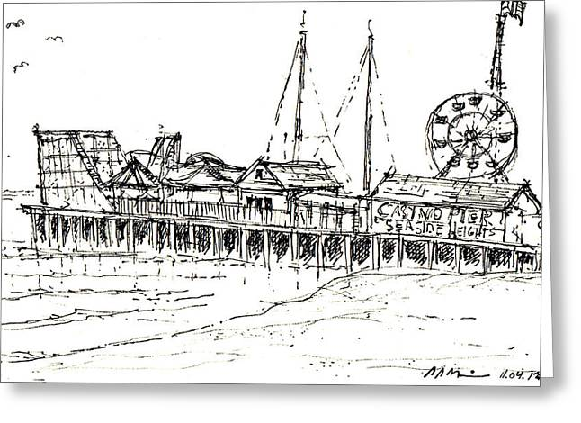 Casino Pier Greeting Cards - Casino Pier in Seaside Heights NJ Greeting Card by Jason Nicholas
