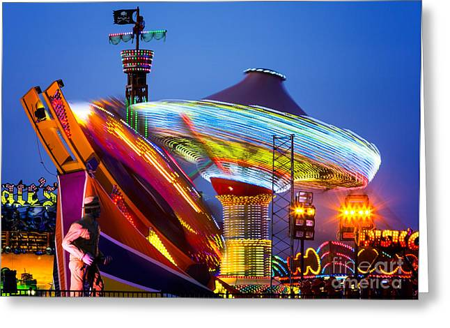 Casino Pier Digital Art Greeting Cards - Casino Pier Rides Seaside Heights Greeting Card by Jerry Fornarotto
