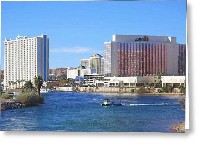 Water Taxi Greeting Cards - Casinos Along the Colorado River Greeting Card by Donna Kennedy