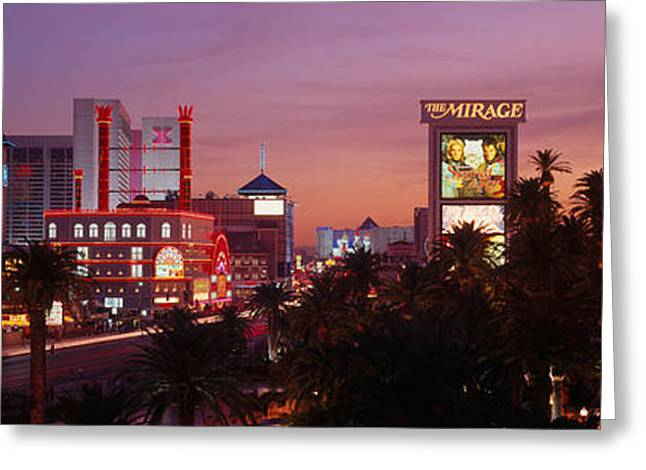 Headlight Greeting Cards - Casinos At Twilight, Las Vegas, Nevada Greeting Card by Panoramic Images