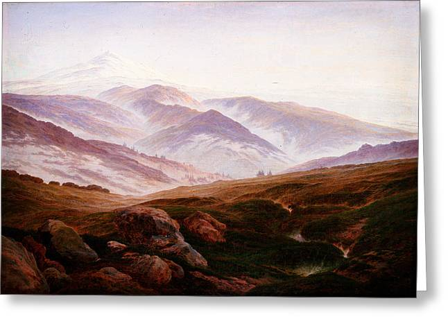 Kilburne Posters Greeting Cards - Caspar David Friedrich 016 Greeting Card by MotionAge Designs