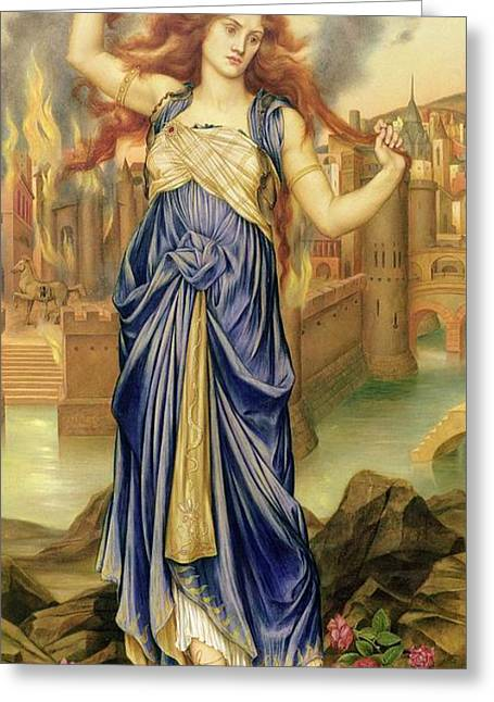 Doomed Greeting Cards - Cassandra Greeting Card by Evelyn De Morgan