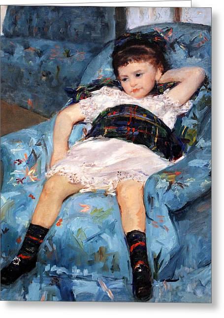 Cassatt Photographs Greeting Cards - Cassatts Little Girl In A Blue Armchair Up Close Greeting Card by Cora Wandel