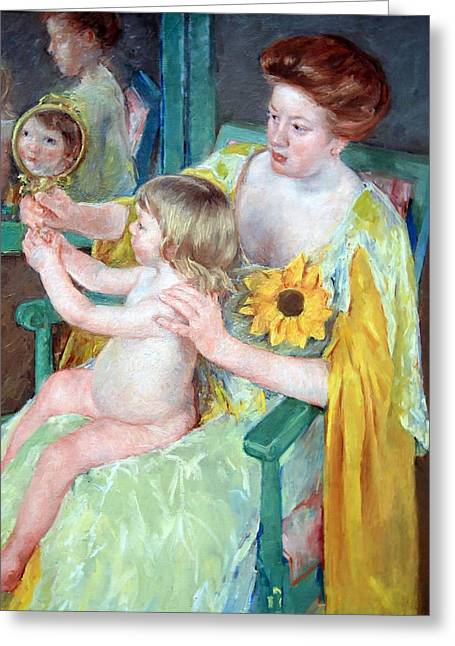 Cassatt Photographs Greeting Cards - Cassatts Mother And Child Greeting Card by Cora Wandel