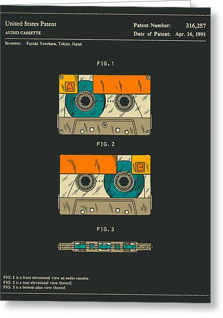 Tape Greeting Cards - Cassette Tape Greeting Card by Jazzberry Blue