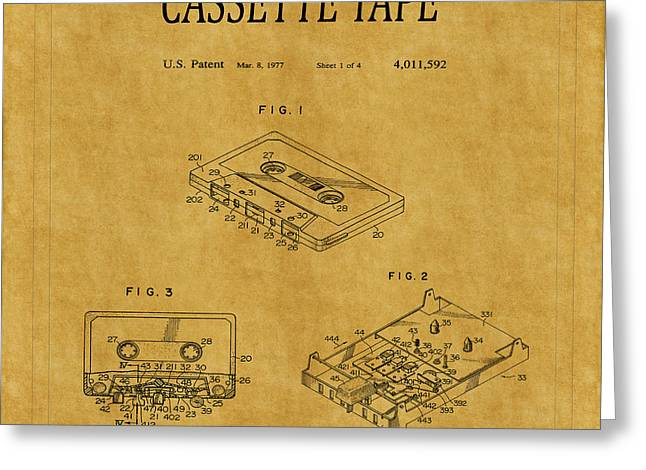 Cassettes Greeting Cards - Cassette Tape Patent 1 Greeting Card by Andrew Fare
