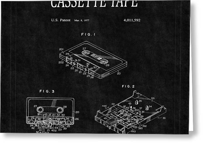 Cassettes Greeting Cards - Cassette Tape Patent 2 Greeting Card by Andrew Fare