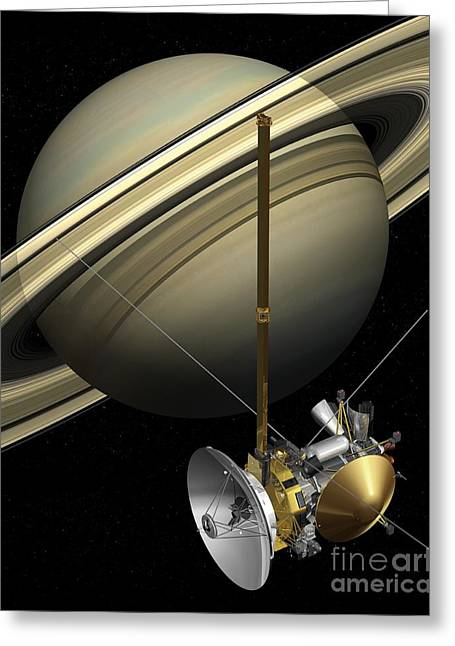 21st Greeting Cards - Cassini-huygens Probe And Saturn, Artwork Greeting Card by Carlos Clarivan