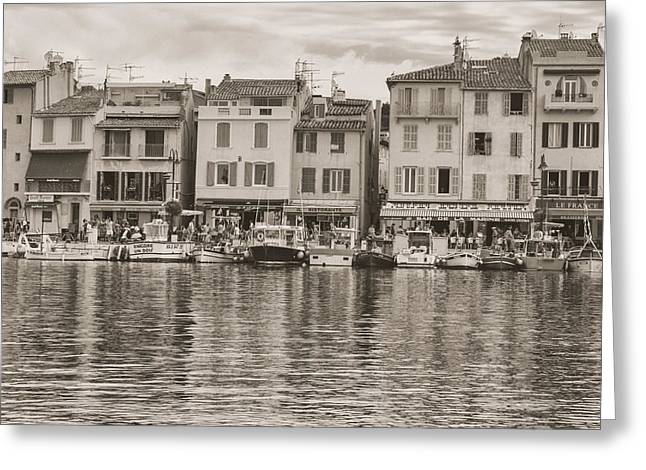 South Of France Greeting Cards - Cassis - French Town - Toned Greeting Card by Nomad Art And  Design